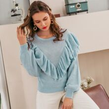 Layered Ruffle Trim Solid Sweater