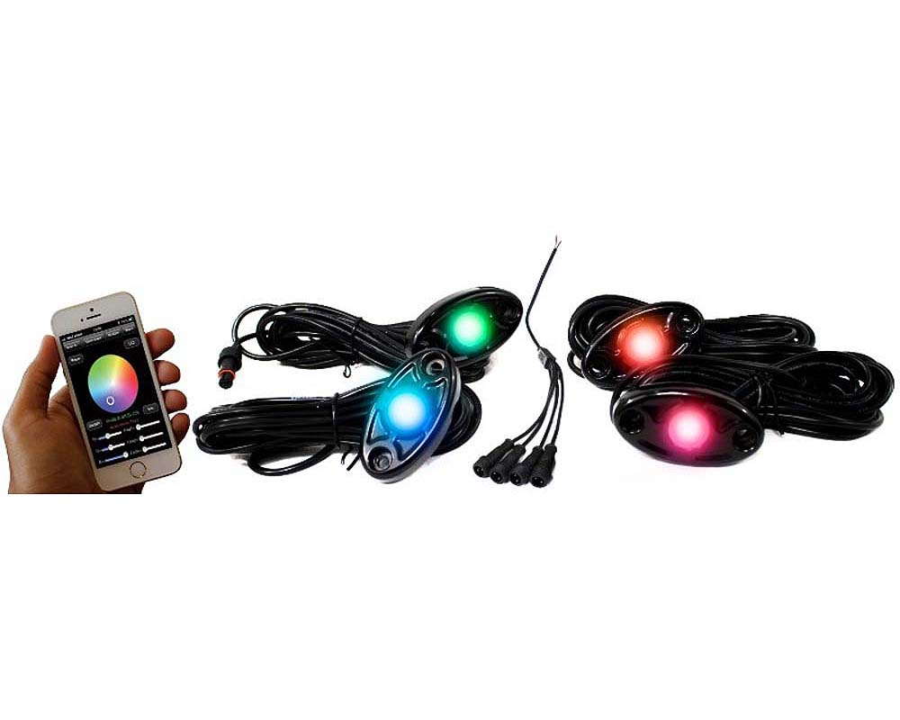 Race Sport Lighting RSLD4KITCS RGB Multi-Color with Black Rock Light Housings ColorSMART 4-LED Glow Pod BLACK Kit  iOS or Android Smartphone Controlle