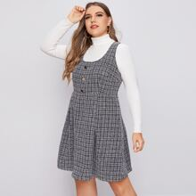 Tweed Kleid mit Knopfen vorn