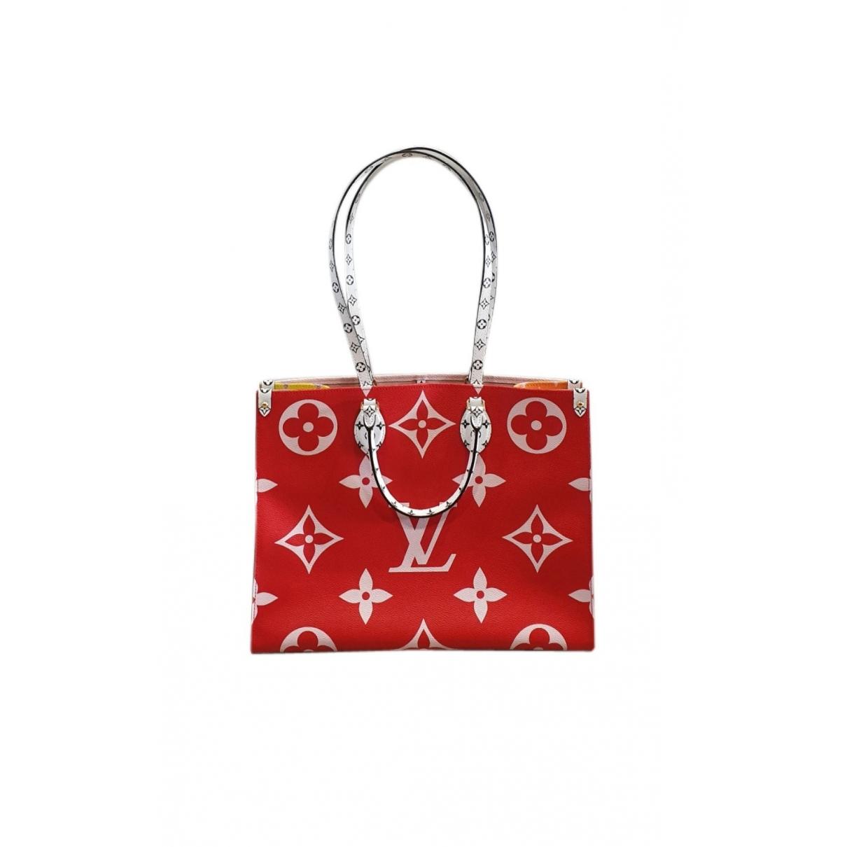 Louis Vuitton Onthego Handtasche in  Rot Leinen