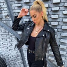 Apperloth A Buckle Belted PU Leather Moto Jacket