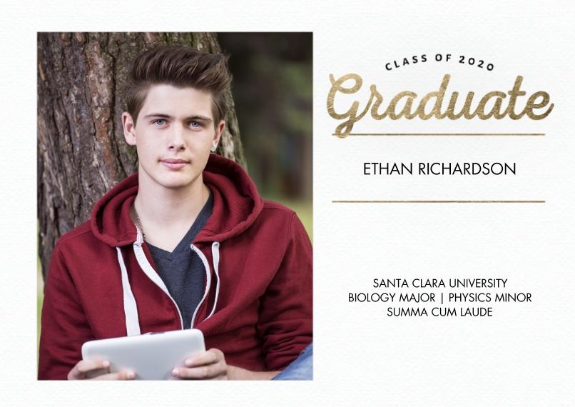 2020 Graduation Announcements 5x7 Cards, Premium Cardstock 120lb with Elegant Corners, Card & Stationery -Graduate 2020 Script Memories by Tumbalina