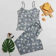 Floral Print Lace Trim Pajama Set