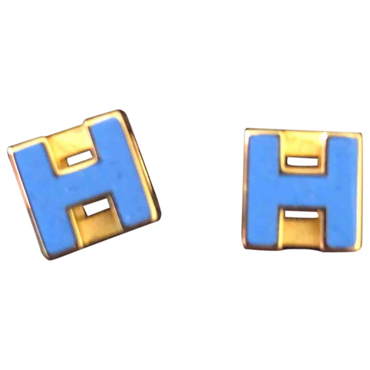 Hermes - Boucles doreilles Pop H pour femme en or rose - bleu