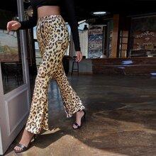 Pantalones de pierna amplia con estampado de leopardo