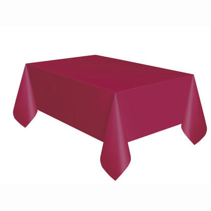 Party Plastic Table Cover Rectangular, Burgundy Solid 54
