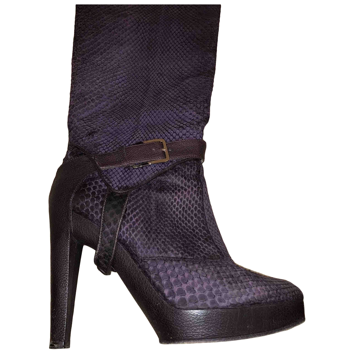 Dior \N Purple Leather Boots for Women 39.5 EU