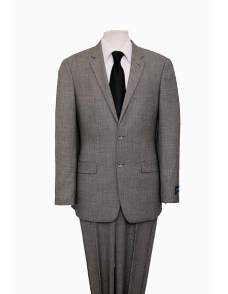 Mens Birdseye Black Single Notch Lapel Classic Suit Flat Front Pant