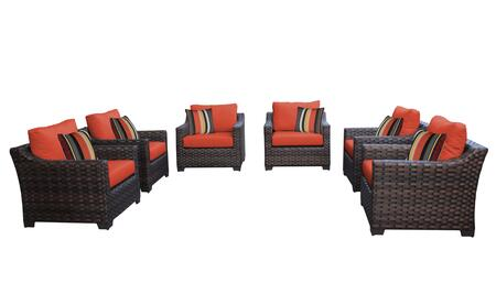 RIVER-06w-TANGERINE Kathy Ireland Homes and Gardens River Brook 6-Piece Wicker Patio Set 06w - 1 Set of Truffle and 1 Set of Persimmon