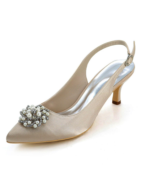 Milanoo Champagne Wedding Shoes Pointed Toe Kitten Heel Rhinestones Pearls Slingbacks Bridal Pumps