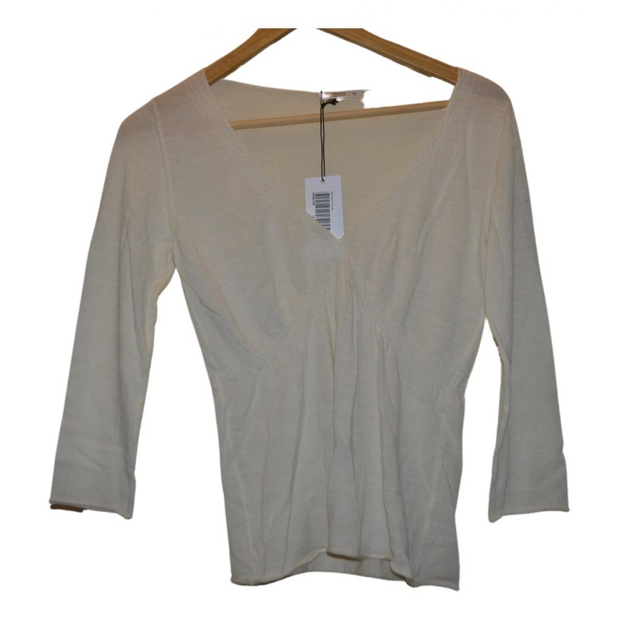 Prada - Pull   pour femme en laine - blanc