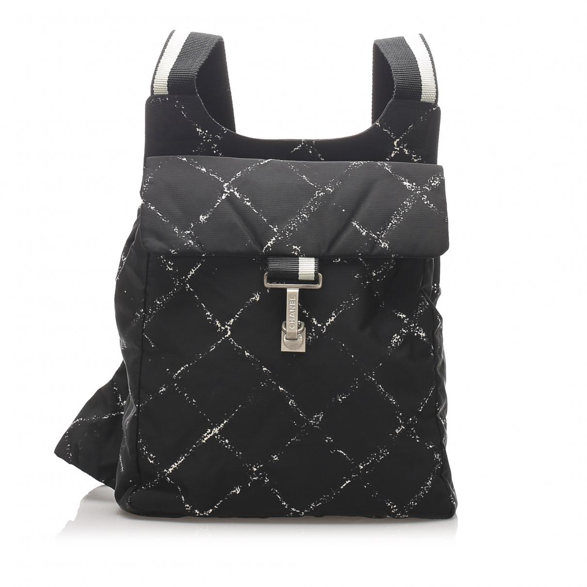 Chanel - Sac a dos   pour femme en toile - noir