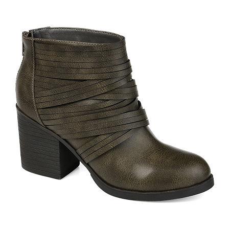 Journee Collection Womens Preslee Stacked Heel Booties, 6 1/2 Medium, Gray