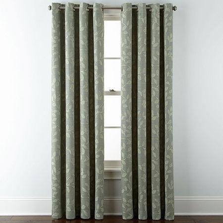 Liz Claiborne Quinn Leaf Room-Darkening Grommet Top Single Curtain Panel, One Size , Green
