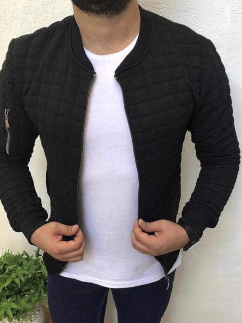 Ericdress Zipper V-Neck Men's Plain Jacket