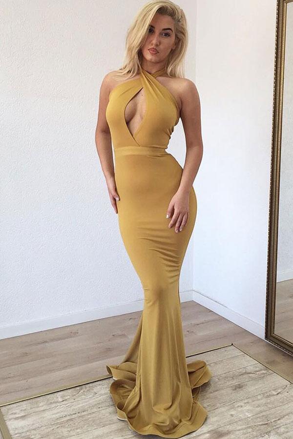 Guenstige 2021 Ginger Neckholder Keyhole Mermaid Langes Abendkleid Online