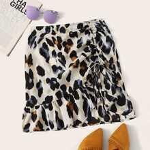 Rock mit Leopard Muster und Kordelzug