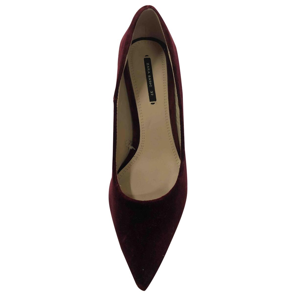 Zara - Escarpins   pour femme en velours - rouge