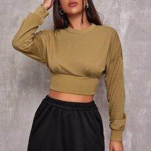 Drop Shoulder Wide Hem Crop Pullover
