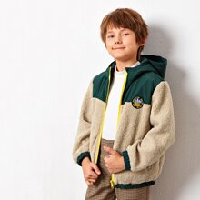 Boys Zip Up Patched Detail Teddy Hooded Jacket