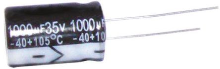 RS PRO 100μF Electrolytic Capacitor 6.3V dc, Through Hole (100)