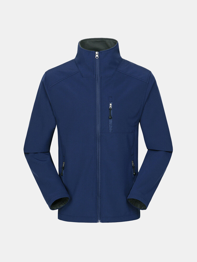 Mens Outdoor Soft Shell Thermal Fleece Lining Windproof Zipper Up Sport Jacket