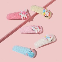 5pcs Toddler Girls Unicorn Decor Hair Clip
