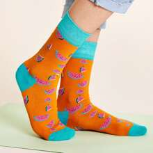 1pair Fruit Pattern Socks