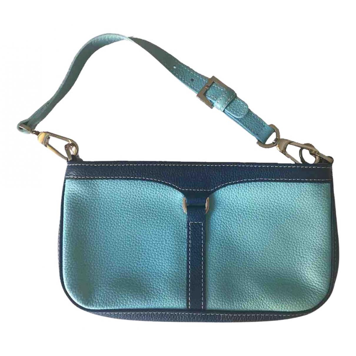 Longchamp - Sac a main   pour femme en cuir - bleu