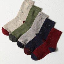 5 Paare Socken mit Farbblock
