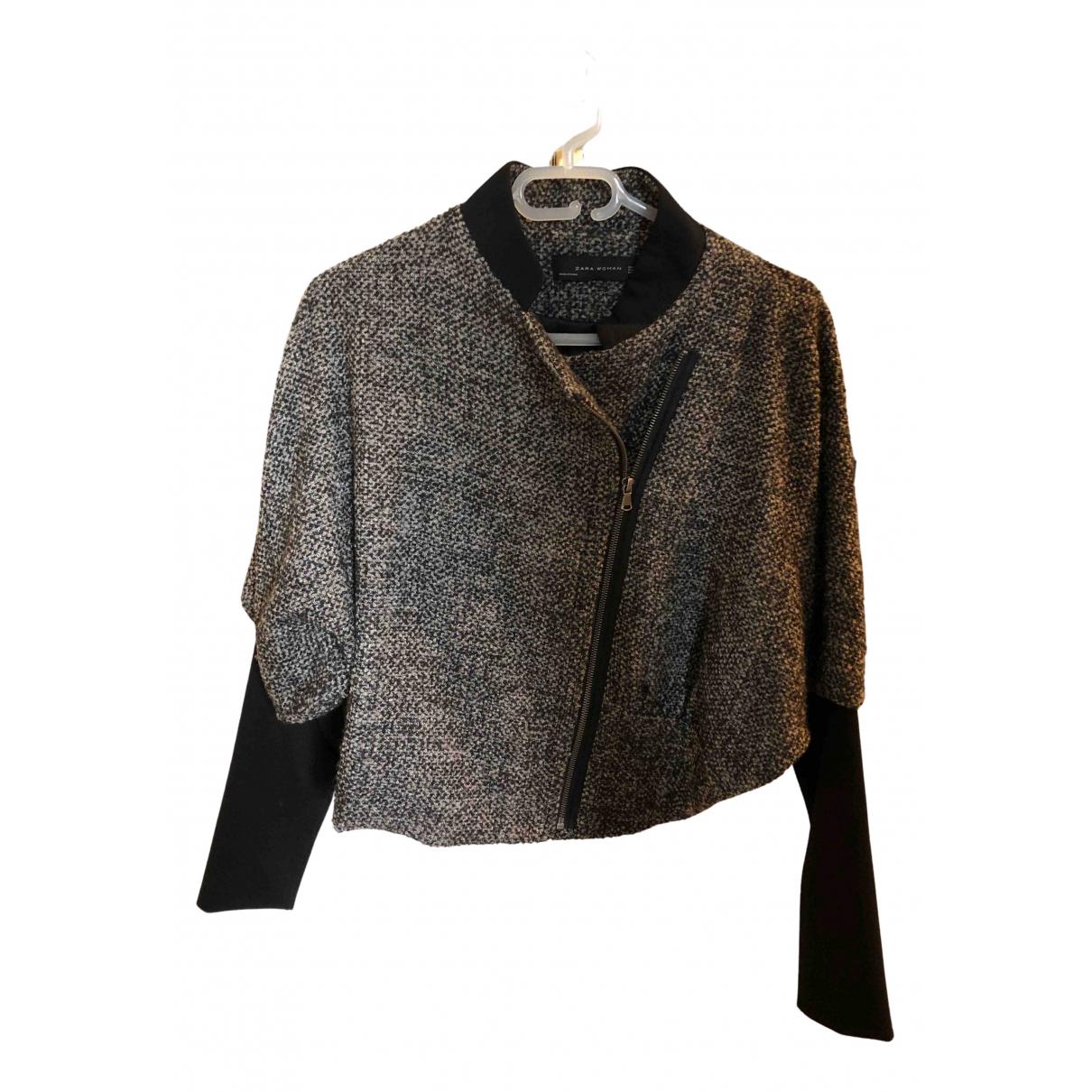 Zara \N Lederjacke in  Grau Wolle