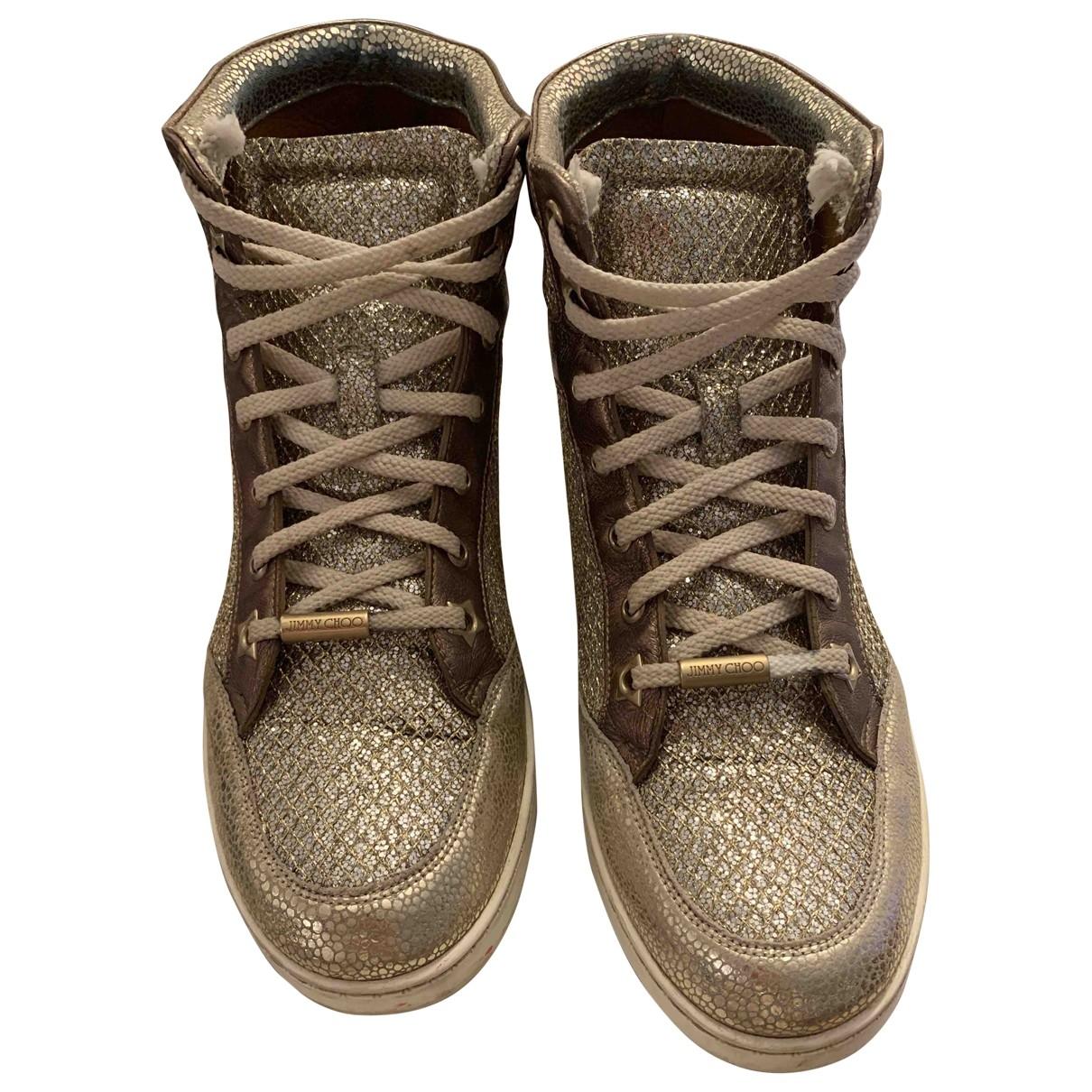 Jimmy Choo \N Sneakers in  Gold Leinen