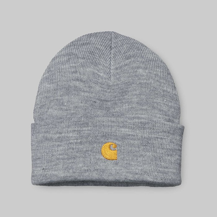 Carhartt Chase Beanie I026222 GREY HEATHER/GOLD