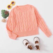 Girls Raglan Sleeve Cable Knit Sweater
