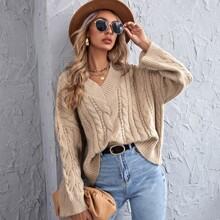 Pullover mit Zopfmuster und V Kragen
