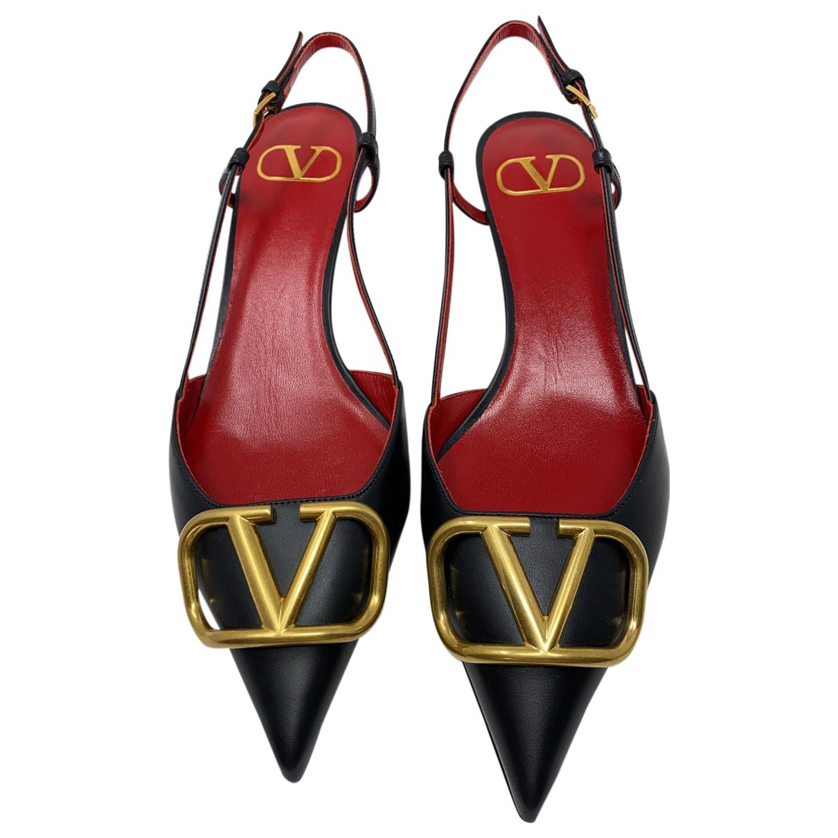 Valentino Garavani VLOGO Black Leather Heels for Women 39 IT