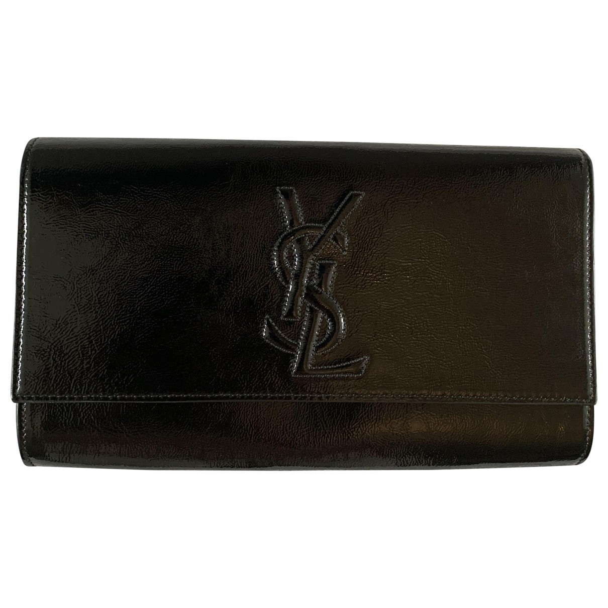 Yves Saint Laurent Belle de Jour Clutch in  Schwarz Lackleder