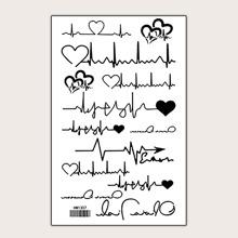 Heartbeat Pattern Tattoo Sticker