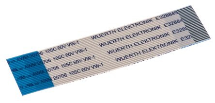Wurth Elektronik 6877 FFC Jumper Cable, 0.5mm Pitch, 24 Way, 50mm Cable Length, 500 mA, 60 V ac (5)