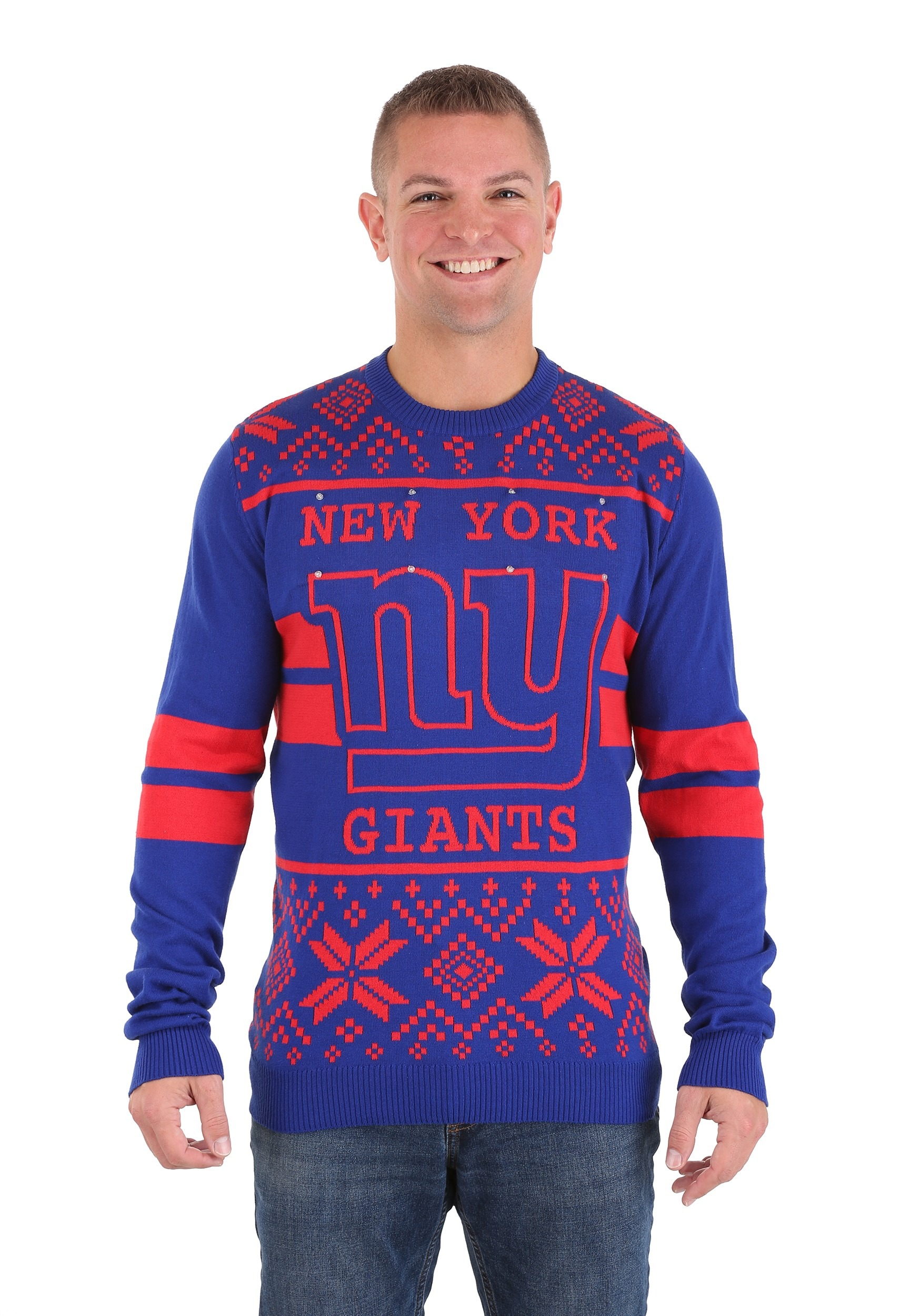 NFL New York Giants 2 Stripe Big Logo Light Up Sweater