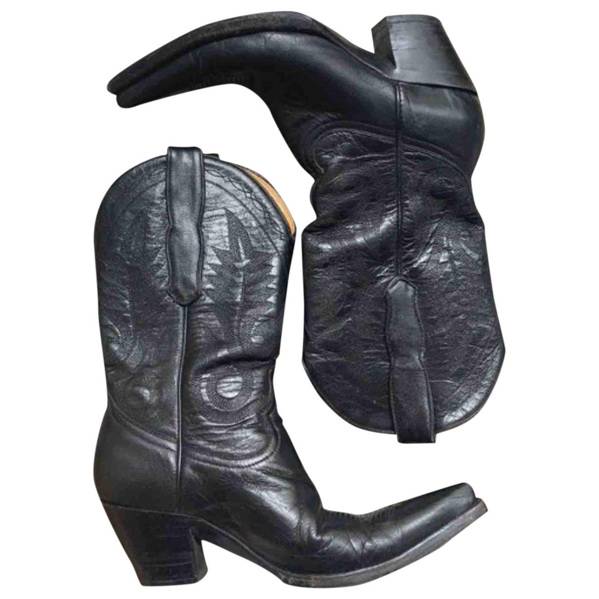 Mexicana \N Black Leather Ankle boots for Women 37 EU