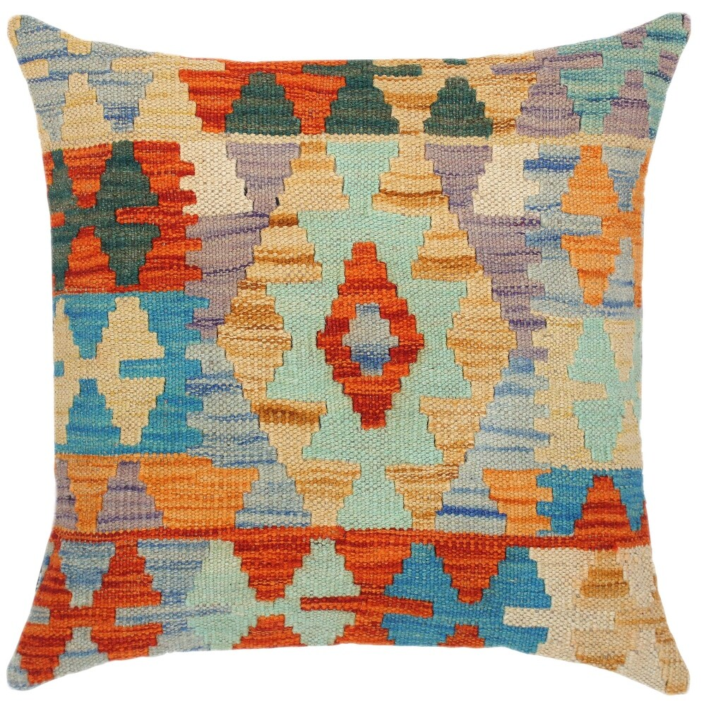 Boho Chic Fred Hand-Woven Turkish Kilim Throw Pillow (Polyester - 18 in. x 18 in. - Accent - Blue - Single)