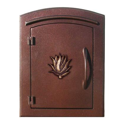 MAN-1406-AC Manchester NON-LOCKING Column Mount Mailbox with Decorative AGAVE Logo in Antique