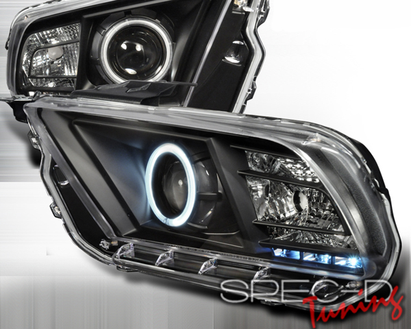 SpecD Black CCFL Halo LED Projector Headlights Ford Mustang 10-12