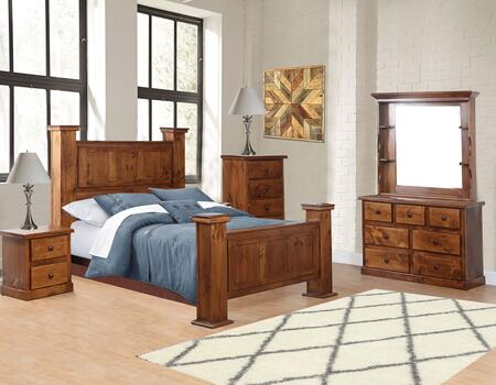 Hide-Away Collection 85KGP-5PCSET-GO 5 Piece Bedroom Set with King Pistol Bed  Drawer Chest  Dresser  Nightstand and Hutched Mirror in Golden Oak