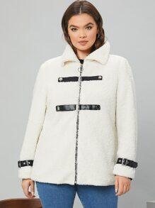 Plus Zipper Up Buckle Strap Detail Teddy Coat