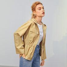 Zipper Front Flap Pocket Hooded Jacket