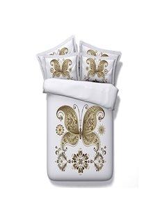 Elegant Golden Butterfly Digital Printing 5-Piece Comforter Sets