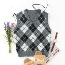 Pullover Weste mit V Kragen und Argyle Muster