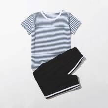 Boys Striped Tee & Side Tape Pants PJ Set